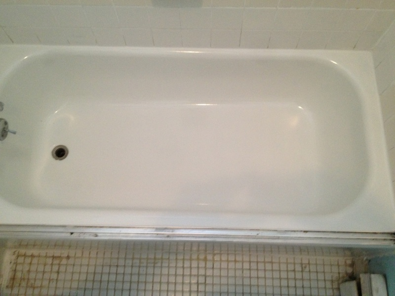 clean, shiny, like new bathtub after refinishing